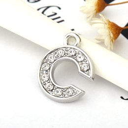 Wholesale Wholesale Rhinestone Jewelry Components - Hole Length 16MM Charms DIY Slide Letters With Rhinestone Pet Dog Collars Silver Color Jewelry Finding Components Charms