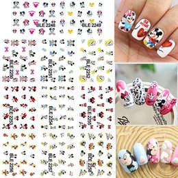 Wholesale Nail Art Cartoon Stickers - 1 Lot = 11 Sheets Large Cartoon Mouse Water Transfer Nail Art Sticker Tips Watermark Manicure Pedicure BLE2248-2258