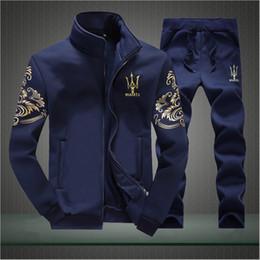 Wholesale Purple Sweats - Wholesale-Mens Sweat SuitsAutumn Brand Mens Tracksuits Sets Jogger Jacket + Pants Sporting Suit Hip Hop Sweatshirts Hombre