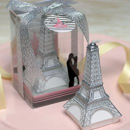 Wholesale Colored Wedding Favor Boxes - 20pcs Eiffel tower candles in gift box wedding bridal shower party favor guest gift present romantic WA2304
