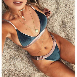 Wholesale Thong Bathing Suits Women - Women velvet bikini set Swimsuit Monokini Bodysuit Swimming Suit Trikini Velvet Bikinis Bathing Suits Swim Halter Thong Beach Swimwear