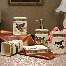 Wholesale Elegant Horse - Porcelain bathroom sets ivory porcelain god horse design five-piece set accessories bathroom sets elegant bathroom sets gifts