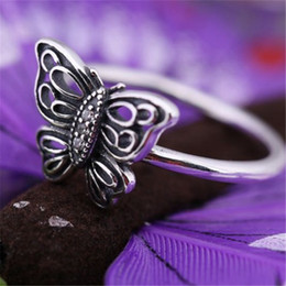 Wholesale 925 Ale Sterling Silver Pandora - Ale Butterfly Retro Charm Ring Size Marked Stunning CZ Solid 925 Sterling Silver European Style Jewelry Findings For Pandora