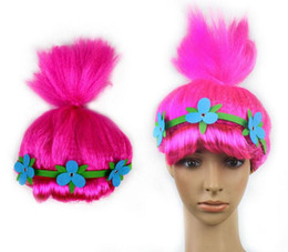 Wholesale Wig Supplies Free Shipping - Trolls Wig with Flower Poppy Cosplay Wig for Kids Party Supplies for Kids 4-6 Years Old IN STOCK 20pcs EMS FREE SHIPPING