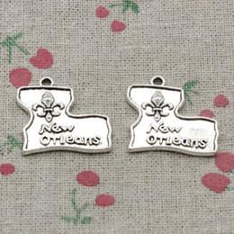 Wholesale Fleur Lis Pendants Wholesale - 40pcs Charms fleur de lis new orleans 24*23mm Antique Silver Pendant Zinc Alloy Jewelry DIY Hand Made Bracelet Necklace Fitting