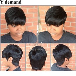 Wholesale Capless Wigs - Celebrity Style New Stylish 1B color Black Short Straight Africa American wigs Synthetic Ladys' Hair Wig Wigs Full Wig Capless