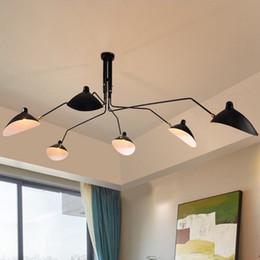 Wholesale Ceiling Designs Bedroom - 3 6 heads Serge Mouille Pole Pendent Lamp Sabre Rattling Swing Duckbill Ceiling Lamp Metal Dining Room Ceiling Lamp mechanical design light