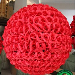"Wholesale large silk roses - 24"" 60 cm Super Large Size Upscale Artificial Rose Silk Flower Kissing Balls For Wedding Party Centerpieces Decorations supplies"