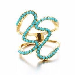 Wholesale pine beads - Fashion exaggerated geometric small jewelry creative wild retro women 's rings Bohemia Pine stone bead ring wholesale free shipping