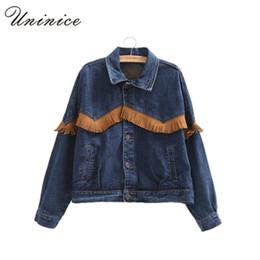 Wholesale Korean Long Sleeves For Girls - Wholesale- Spring Autumn Short Jean Tassels Jackets Women Long Sleeve Korean Denim Jacket Ladies Blue Casual Jeans Jacket Coat for Girls