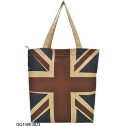 Wholesale Union Jack Blue - Wholesale- High Quality Linen Tote Bags Women Handbags Vintage Eiffel Tower Union Jack America Flag Shopper Bag QQ1699