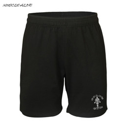 Wholesale Plus Size Workout Clothing - Wholesale- MUSCLE ALIVE Men Shorts Gyms Clothing Bodybuilding Shorts Mens Fitness Clothes Workout For Male Cotton Print Casual