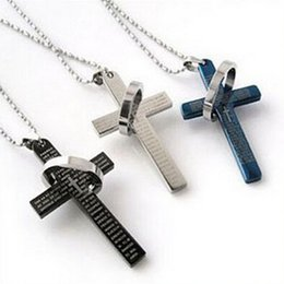 Wholesale Earring Prayer - New 3 Colors Stainless Steel Necklaces Men Brand Prayer Cross Men Pendant Necklaces Fashion Jewerly