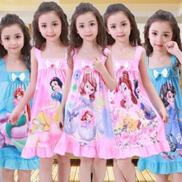 Wholesale 5t Snow - 2017 new summer girls Sleep dress Elsa Anna Mermaid Snow White princess Cartoon kids pajamas nightgowns baby Bow sleepwear 10 colors C2232
