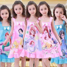 Wholesale Autumn Dresses Kids - 2017 new summer girls Sleep dress Elsa Anna Mermaid Snow White princess Cartoon kids pajamas nightgowns baby Bow sleepwear 10 colors C2232