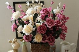 Wholesale Artificial Hot Pink Roses Wholesale - Wholesale 50pcslot Hot sale PE Artificial Rose flowers Bouquets For Wedding Decoration Decorative Wreath DIY Craft Flower for Wedding Lovers