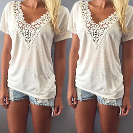 Wholesale Tee Shirt Crochet - Wholesale- new 2016 Fashion Women v-neck Summer t shirt Short Sleeve Casual lace crochet tops tees clothing plus size S-XXL
