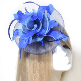 Wholesale feather hairpieces - Netting Fascinator Feather Hat Clip Pins HairPin Bridal Wedding Party Show Hairpiece Headwear party proms church hat races handmade mesh
