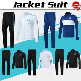 Wholesale Jackets Men Sale - Real Madrid long sleeve Jacket suit kit Soccer Jersey 17 18 Real Madrid white blue Training uniform 2017 football uniform jacket+pants Sales