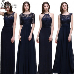 Wholesale Short Sleeve Dress Real Image - Real Photo Navy Blue Bridesmaid Dresses Long 2017 Chiffon Lace A Line Zipper-Up Floor Length