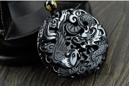 Wholesale Black Man Statue - Fashion Black Dragon Phoenix Pendant Natural Hand-carved Obsidian Necklace Fine Jade Statues Jewelry For Women Men Free Rope