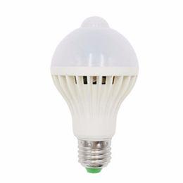 Wholesale Infrared Human Sensor White Led - Wholesale- E27 B22 LED PIR Motion Sensor Lamp 5W 7W 9W Super Brightness PIR Infrared Human Body Induction Lamp Bulb 2017 Brand New