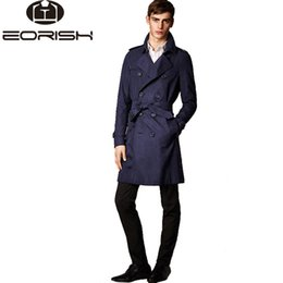 Wholesale Trench Coat Long Men Xxl - Wholesale- 2017 Euro style double breasted men trench coat size M to XXL
