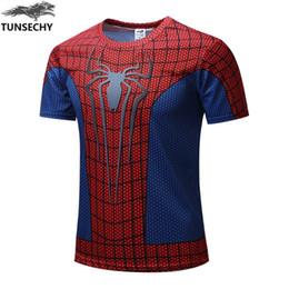 Wholesale Batman Superman Shirts - New 2017 Batman Spiderman Ironman Superman Captain America Winter soldier Marvel T shirt Avengers Costume Comics Superhero mens