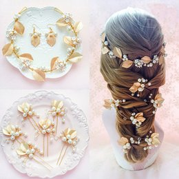 Wholesale Pearl Headbands For Wedding - 2017 Wedding Bride Jewelry Sets Gold Leaf Shape with Pearls Crystal Hair Bob Headbands Woman's Hairpin Earrings for Party Formal Occasion