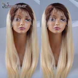 Wholesale Blond Human Hair Lace Wigs - Two Tone Blond Hair Straight Brazilian Full Lace Human Hair Wig blonde ombre brazilian front lace wigs for black women with dark roots