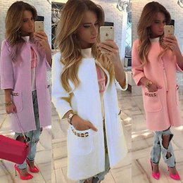 Wholesale Womens 16 - Wholesale- 2016 Vintage Ladies Long Jackets Warm Womens Slim Coat Outwear TOP Cardigan Size 6-16