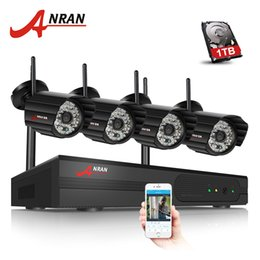 Wholesale Night Vision Wireless Camera System - ANRAN Plug and Play 4CH Security Camera System Wireless NVR Kit P2P 720P HD Outdoor IR Night Vision CCTV IP Camera System 1TB HDD Optional