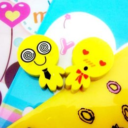 Wholesale Pencil Erasers For Kids - 4 pcs   lot New Lovely Funny Smile Face Eraser Novelty erasers for kids kawaii Rubber Smiling Eraser small size kids Gifts