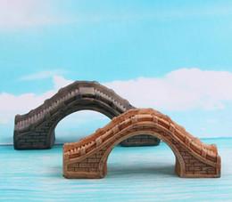 Wholesale Bridge Crafts - Footbridge Bridge Mountains Mini Fairy garden Home decor miniatures for terrarium figurine Moss zakka resin craft ornaments