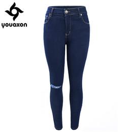 Wholesale Dark Blue Jeans For Women - Wholesale- 1883 Youaxon Women`s Single Knee Ripped Dark Blue High Waisted Skinny Denim Jean Pants For Women Jeans