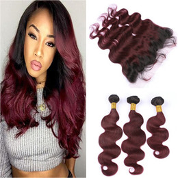 Wholesale Red Burgundy Hair - Wine Red Ombre Brazilian Virgin Human Hair Wefts With Frontal Body Wave 1B 99J Burgundy Ombre Lace Frontal Closure 13x4 With Bundles
