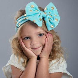 Wholesale Golden Hair Band - Baby Hairband Girls golden polka dots lace-up Bows Hair Band Infant Cute Bunny Hare Headbands Children big Bow Elastic headband T0921