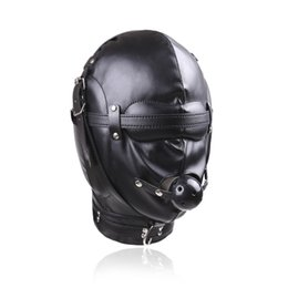 Wholesale Bdsm Locks - BDSM Bondage Leather Hood for Adult Play Games Full Masks Fetish Face Locking Blindfold for Sex