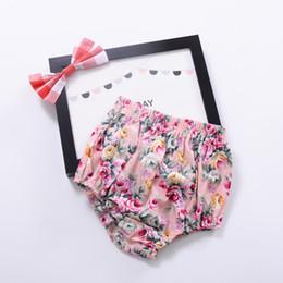 Wholesale Satin Bloomers Short - Infant Bottoms Baby Bloomers Girls Pettiskirt underwear Flower Underwear Panties Toddle Kids Underpants Newborn Floral Satin PP Pants A6768