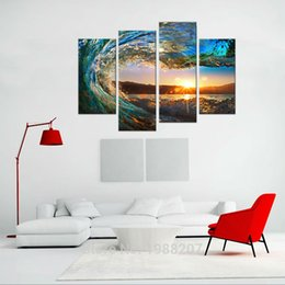 Wholesale Giclee Wall Art - 4 Pieces Rolling Wave Painting Seascape Canvas Painting Wall Art Picture Print Giclee Artwork with Wooden Framed For Home Decor to Hang