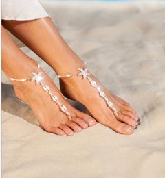 Wholesale Footed Glass Plate - 60PCS Fashion Glass Beads Starfish Anklet Foot Bracelets Jewelry Adjustable For Women Accessories Barefoot Sandals Chain F119