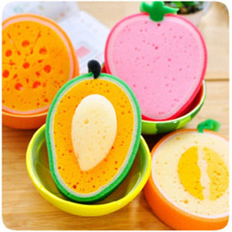 Wholesale Microfiber Sponge Wholesale - Cute Fruit Shape Microfiber Kitchen Sponge For Washing Scouring Pad Washing Towel Sponges Dishes Clearing Kitchen Tool Cleaning Supplies