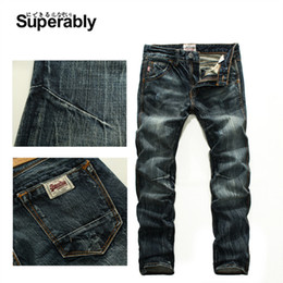 Wholesale Solid Color Men Jeans - Wholesale- Dark color mens denim biker jeans high quality brand design mens trousers size 28 to 38 straight ripped jeans for men U206