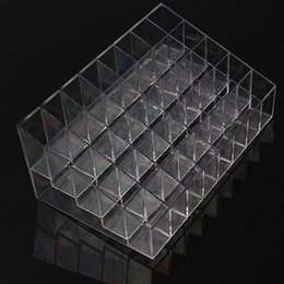 Wholesale Ring Displays - 40 Trapezoid Clear Makeup Display Lipstick Stand Case Cosmetic Organizer Holder Hot sale High Quality BZ678406
