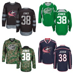 Wholesale next green - 2016 New 38 Boone Jenner Jersey Columbus Blue Jackets Adult Hockey Jersey Green Black Blue Authentic Stitched Jersey Next Day Shipping