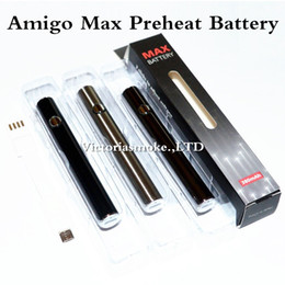 Wholesale Vaporizer Voltage Battery - Authentic Amigo Max Preheat Battery 380mAh Variable Voltage Bottom Charge 510 Battery For Thick Oil Vaporizer Pen Cartridges