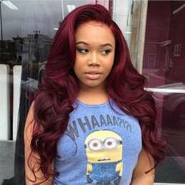 Wholesale 99j Lace Front Wigs - Body Wave Full Lace Human Hair Wigs with Baby Hair 99J Burgundy Color Glueless Lace Front Wig Side Parting Malaysian Virgin Hair