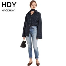 Wholesale Button Down Back Shirt - 2017 Autumn Fashion Women Solid Stripes Tie Back Single Breasted Blouse Turn-Down Collar Long Sleeve Basic Shirt 17408