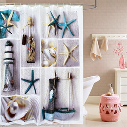Wholesale Sea Shell Bathroom - Fabric polyester terylene blue sea life seastar shell waterproof shower curtains thicken curtain bathroom curtains (size180x180 cm)