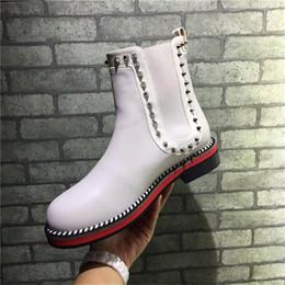 Wholesale Cheap White Heels For Women - 2017 Paris Rivet Genuine Leather Winter Boots Women Chain Rivet Pumps Shoes White Luxurious Brand Short Boots Cheap Wholesale For Party